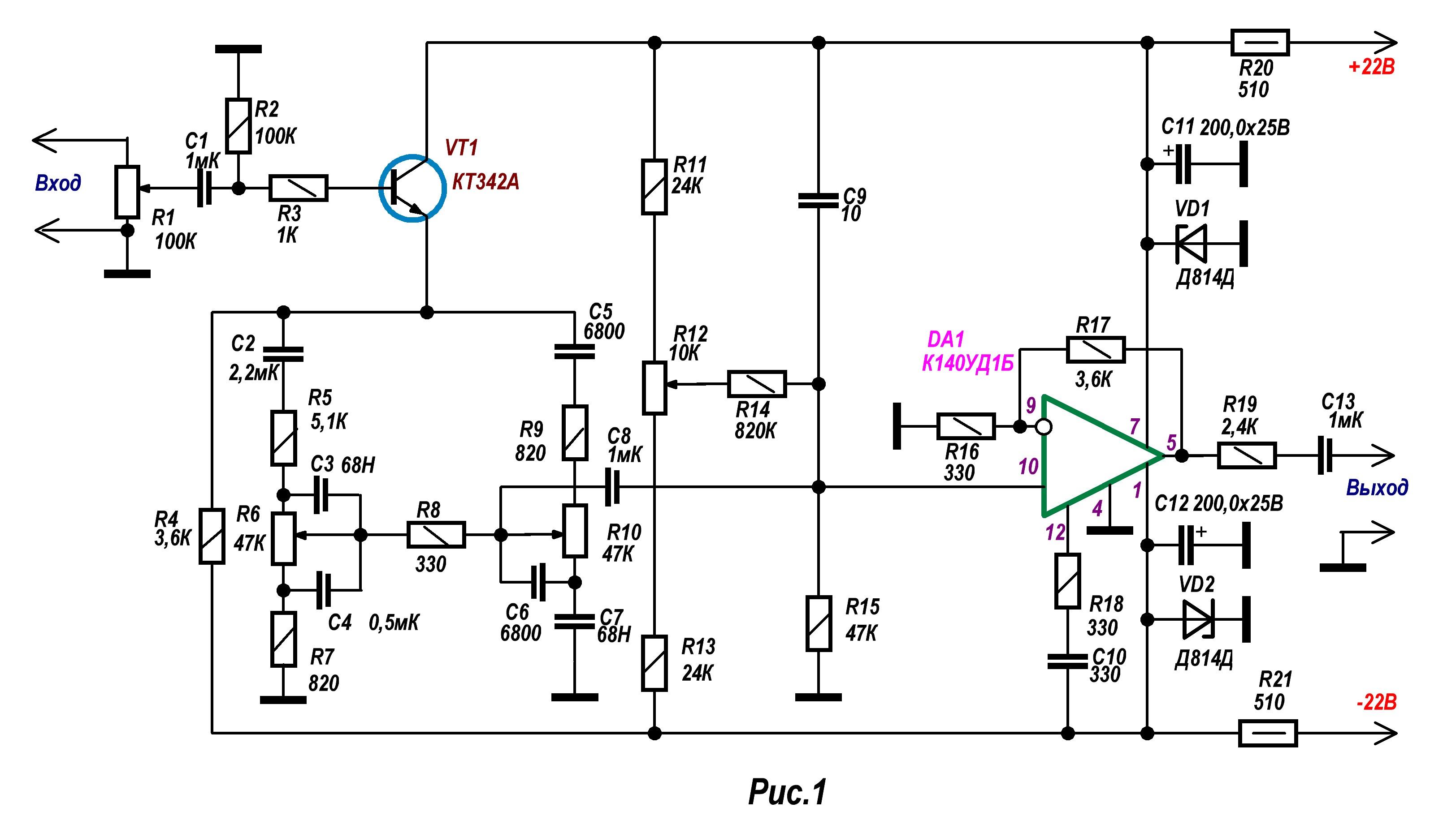 Схема темброблока ламповый